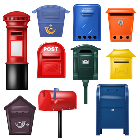 Mail box vector post mailbox postal mailing letterbox illustration set of postboxes design for delivery mailed letters sending in envelopes isolated on white background Фото со стока
