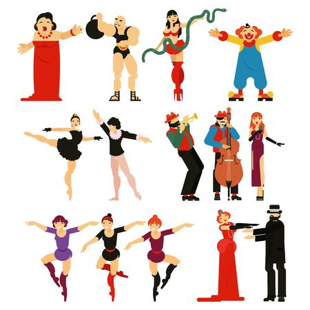 Personaggio di esecutore o attrice di vettore di attore che gioca prestazioni di intrattenimento musicale nel set di illustrazione teatrale della ballerina danza balletto e clown uomo forte isolato su priorità bassa bianca Vettoriali