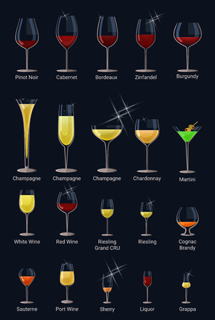 Wine glass vector winery alcohol drink and red beverage wineglass in bar restaurant illustration set of glassware champagne liquid drinking cocktail brandy or sherry isolated on background.