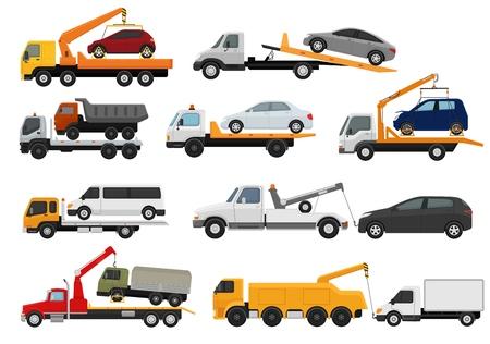 Abschleppwagen Vektor-Abschleppwagen LKW-Transport-Schlepphilfe auf Straßenillustrationssatz des abgeschleppten Autotransports lokalisiert auf weißem Hintergrund.