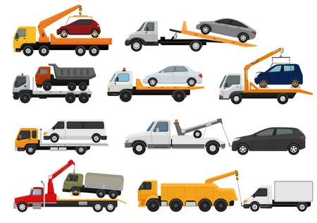 Tow truck vector towing car trucking vehicle transportation towage help on road illustration set of towed auto transport isolated on white background. Illustration