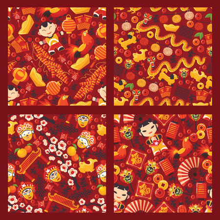 Chinese new year seamless pattern vector traditional red lantern oriental decoration of china culture for asian holiday celebration illustration set of backdrop festival dragon character background Vettoriali