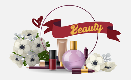 Cosmetic vector beauty make up cosmetology for beautiful woman with makeup foundation powder perfume illustration card cosmetician accessories flowers background.