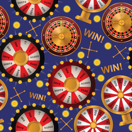 Glücksrad nahtlose Muster Vektor Spin Spiel Casino Roulette mit Pfeil glücklicher Gewinner Hintergrund glückliche fahrbare Lotterie Wette Illustration Hintergrund. Vektorgrafik