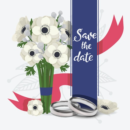 Wedding rings vector wed shop of engagement symbol golden silver jewellery for proposal marriage sign flowered lovely card backdrop illustration flowery background poster.