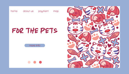 Veterinary vector pet animal character on vetclinic landing page vetshop web-page backdrop illustration set of cat dog on vet clinic web-site background