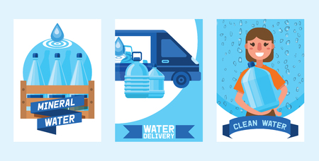 Water bottle vector man woman character delivering water drink liquid aqua bottled in plastic container backdrop set illustration bottling water cooler on background.