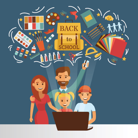 School supplies vector education schooling accessory for schoolchilds backdrop family dad mom with kids buying stationery for studying back to school illustration background.