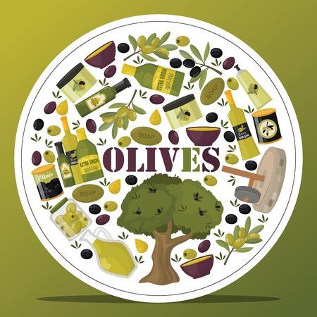 Olive vector oliveoil bottle with virgin oil and natural olivaceous ingredients for vegetarian food backdrop illustration olivebranch or olivet products background