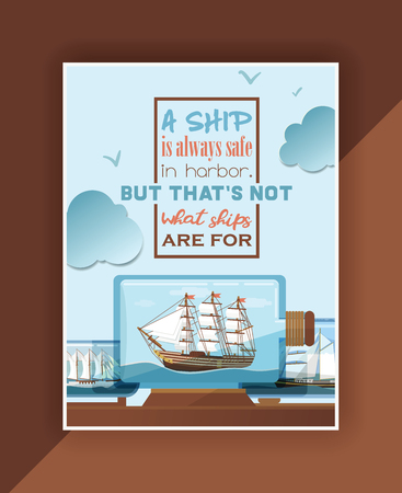 Ship in bottle vector boat in miniature backdrop gifted sail souvenir in glass sailboat with cork wallpaper shipping in flask background lettering sign ad. 写真素材 - 126942007