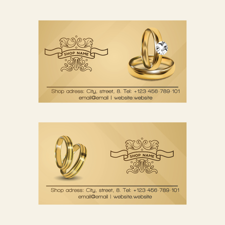 Wedding rings vector wed shop business card of engagement symbol gold jewellery for proposal marriage sign business-card backdrop illustration set background.