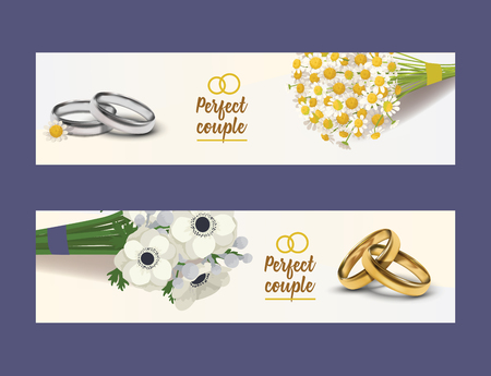 Wedding rings vector wed shop of engagement symbol golden silver jewellery for proposal marriage sign flowered business card backdrop illustration flowery set background badge. Standard-Bild - 126239724
