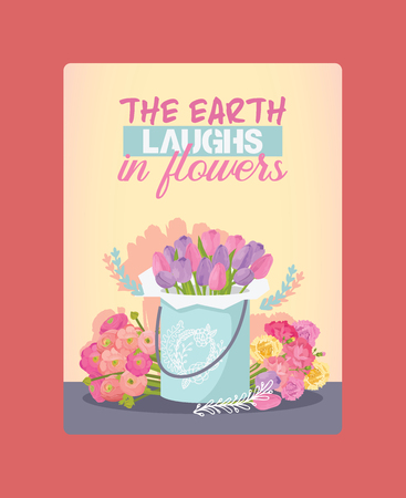 Bouquet vector beautiful floral backdrop with blossom flowers illustration flowery tulip on wedding birthday holiday flowering background. Archivio Fotografico - 126239725
