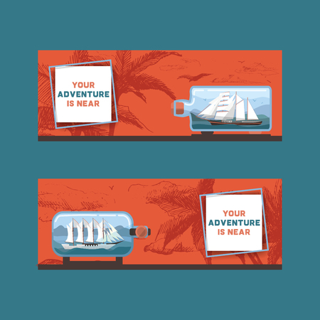 Ship in bottle vector travel boat in miniature backdrop traveling sail souvenir in glass sailboat with cork wallpaper shipping in flask background ad.