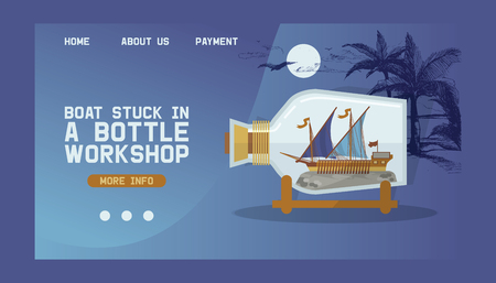 Ship in bottle vector boat in miniature landing web page backdrop traveling sail souvenir in glass sailboat with cork web-page wallpaper travel shipping in flask background web-site ad.