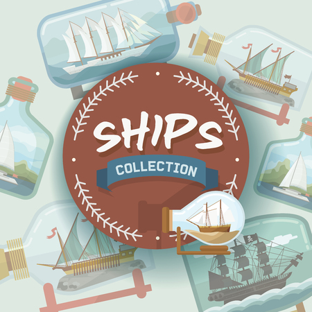 Ship in bottle vector boat in miniature backdrop gifted sail souvenir in glass sailboat with cork wallpaper shipping in flask background ad. Illustration