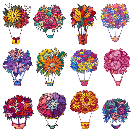 Bouquet aerostat vector beautiful floral air-balloon gift with blossom flowers illustration flowering set of flowery rose tulip on valentine birthday holiday isolated on white background.