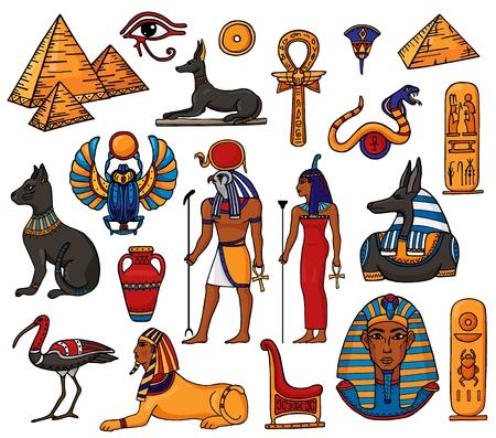 Egipski wektor faraon charakter starożytny mężczyzna kobieta bóg ra piramida sfinks kot statua Egiptu kultura historycznych ilustracji zestaw archeologia kolekcja wazon afrykański na białym tle. Ilustracje wektorowe