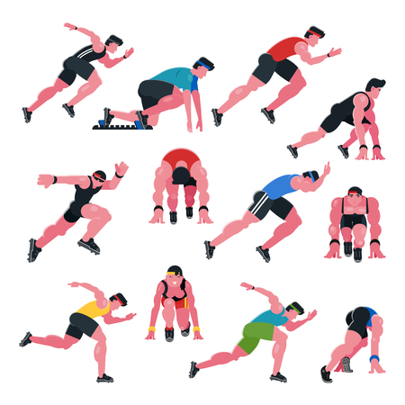 Athlete vector athletic people running and sprinter man character illustration sport training fitness set of jogger sportsman in motion on athletics competition start isolated on white background.