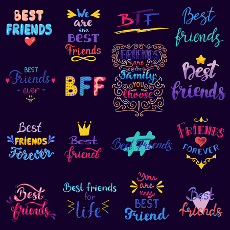 Friend lettering vector BFF friendship card typography and friendly calligraphy logotype best friend sign illustration handwritten set of friendliness banner isolated on black background.