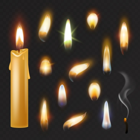 Candle flame vector fired flaming candlelight and flammable fire light illustration fiery flamy realistic set bright burn decoration for celebration isolated on black transparent background. Ilustração