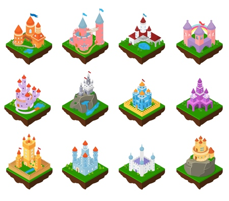 Cartoon castle vector fairytale medieval tower of fantasy palace building in kingdom fairyland illustration childish isometric set of princess fairy-tale house isolated on white background Illustration