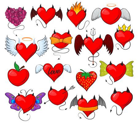 Diavolo cuore vettoriale adorabile innamorato rosso con le ali di corna su amorevole San Valentino carta illustrazione romantico insieme di cuore amorevole design malvagio fragola isolato su priorità bassa bianca Vettoriali