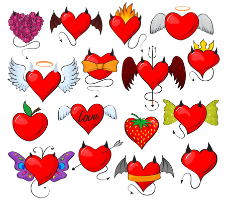 Devil heart vector lovely red sweetheart with horns wings on loving valentine day card illustration romantic set of hearted loving evil design strawberry isolated on white background Illustration