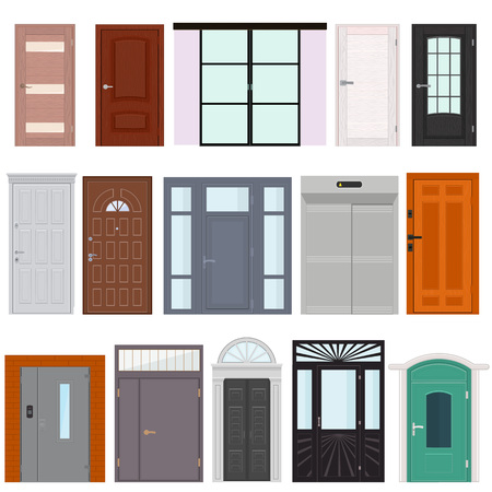 Doors vector doorway front entrance lift entry or elevator indoor house interior illustration set building doorpost doorsill and exit gate isolated on white background Vettoriali