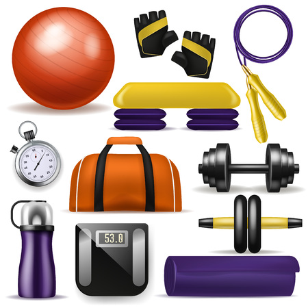 Fitness equipment vector bodybuilding dumpbell fitball and step board for sport exercises in gym illustration set of yoga mat sportive bottle and workout jump rope isolated on white background. Illustration