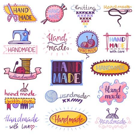 Handgemachter Vektor Nähen Stricken Handwerk Hobby Workshop Illustration Set von Häkeln wolliger Strickwaren und Handstricken Handarbeit Label isoliert auf weißem Hintergrund Vektorgrafik