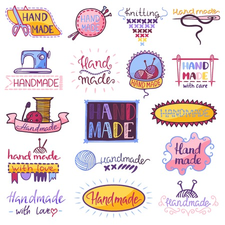 Handmade vector sewing knitting handcraft hobby workshop illustration set of crocheting woolly knitwear and hand knitting needlework label isolated on white background
