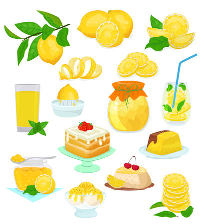 Lemon food vector lemony yellow citrus fruit and fresh lemonade or natural juice illustration set of lemon cake with jam and citric syrup ice cream isolated on white background. Illustration