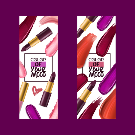 Lipstick pattern vector beautiful red color fashion pink lipgloss lip makeup art illustration backdrop set of shiny liquid female cosmetic background banner. Vector Illustration