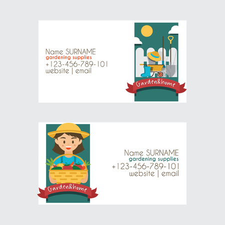 Farm vector farming gardening harvest business card backdrop farmer man gardener woman character farms natural organic food illustration healthy vegetables in garden house business-card background.