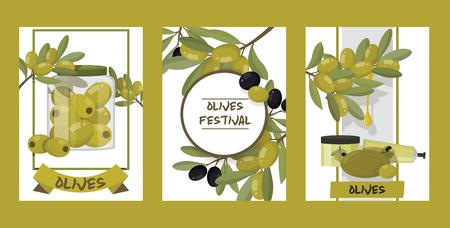 Olive vector oliveoil bottle with virgin oil and natural olivaceous ingredients for vegetarian food backdrop illustration olivebranch or olivet products background set. Иллюстрация