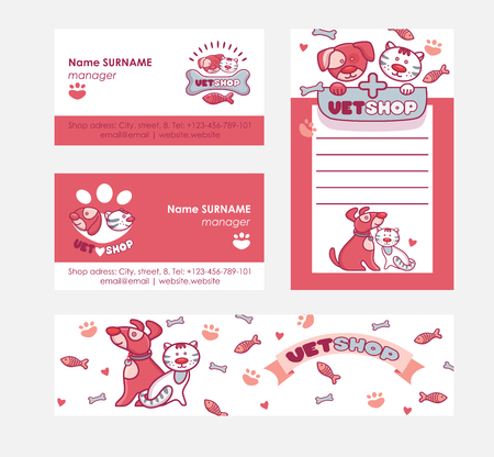 Veterinary vector pet animal character on vetshop business-card and vetclinic  backdrop illustration set of cat dog on vet shop business card background badge Banque d'images - 115489352