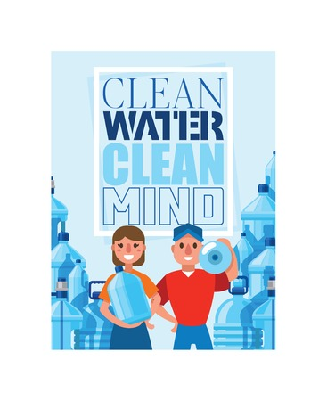 Water bottle vector man woman character delivering clean water drink liquid aqua bottled in plastic container backdrop illustration delivered ottling water background. 일러스트