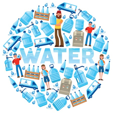 Water bottle vector man woman character delivering water drink liquid aqua bottled in plastic container backdrop illustration bottling water cooler on white background.