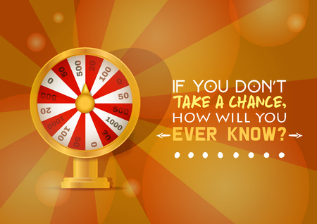 Fortune wheel vector try to win in spin game casino roulette congratulation for lucky winner backdrop fortunate wheeled lottery bet illustration background.