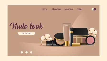 Cosmetic vector landing web page beauty make up cosmetology for beautiful woman with makeup foundation powder illustration web-page cosmetician accessories background.
