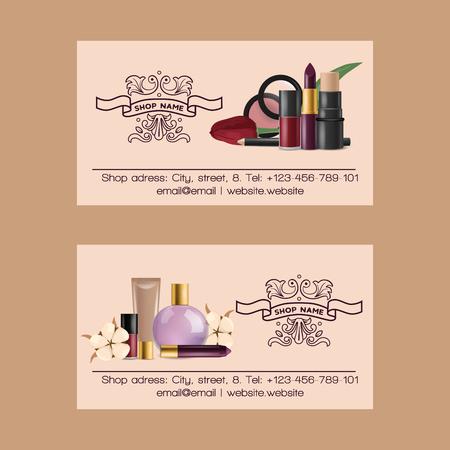 Cosmetici vettore biglietto da visita bellezza compongono cosmetologia per bella donna con trucco fondazione polvere o ombretto illustrazione set di sfondo accessori biglietto da visita estetista.