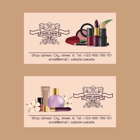 Cosmetic vector business card beauty make up cosmetology for beautiful woman with makeup foundation powder or eyeshadow illustration set of business-card cosmetician accessories background.