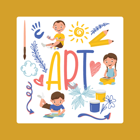 Drawing kids vector boy girl character painting in childish art-school with artist tools paint brushes palette for color paints children artwork backdrop illustration childly sketch background.