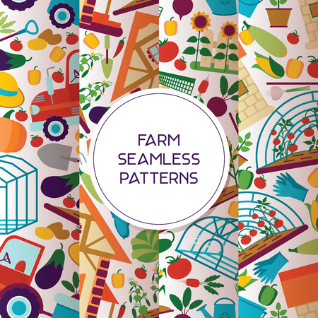 Farm seamless pattern vector farming house gardening backdrop farmer man gardener woman character and farms natural products organic food illustration healthy vegetables in gardenhouse background. Illustration