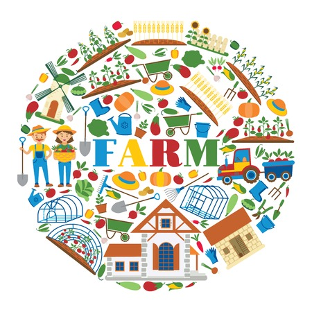 Farm vector farming house gardening backdrop farmer man gardener woman character and farms natural products organic food illustration healthy vegetables in gardenhouse background.