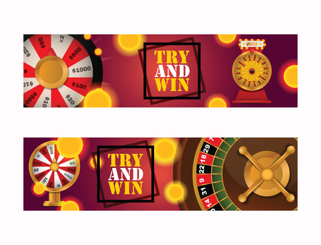 Fortune wheel vector try to win in spin game casino roulette congratulation for lucky winner backdrop fortunate wheeled lottery bet illustration set background. Ilustrace