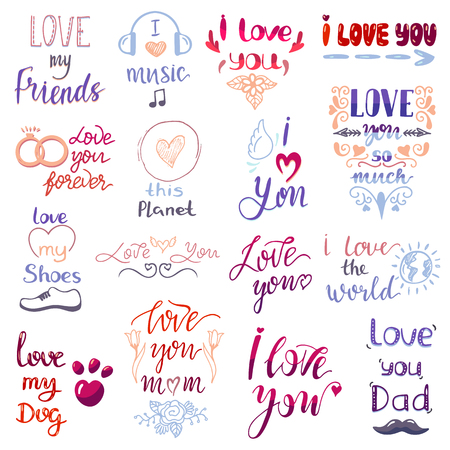 Love lettring vector lovely calligraphy lovable friendship sign to mom dad friend iloveyou on Valentines day beloved card illustration set of family love decor typography isolated on white background. Stock Illustratie