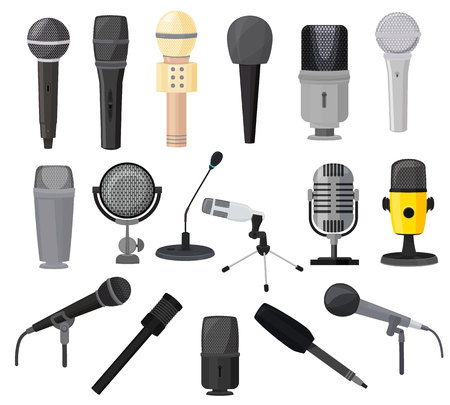 Microphone vector microphones for audio podcast broadcast or music record technology set of broadcasting concert equipment illustration isolated on white background. Stock Illustratie