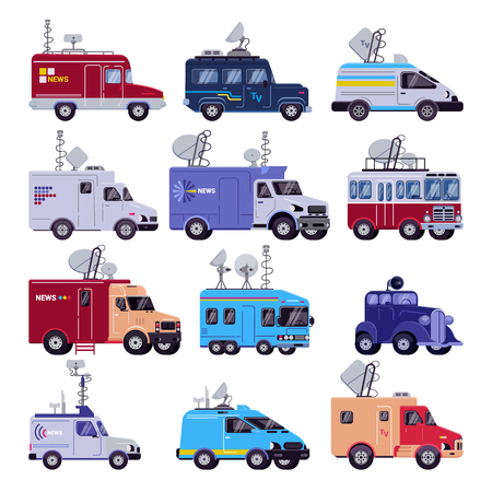 Broadcast vehicle vector TV broadcasting car with antenna satellite media and television van transport illustration set of breaking live news technology auto isolated on white background.